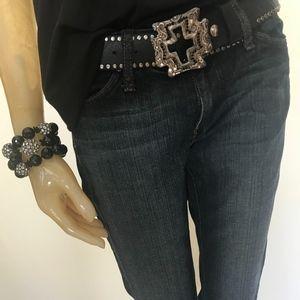 HABITUAL Capri Crop Denim Jeans Pant Dark Wash 28